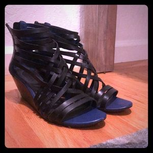 Trouve Blue Black Strappy Short Heels